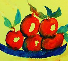 Plate of Apples,watercolor by Anna  Lewis
