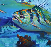 Here Comes The Rooster - Roosterfish Sport fishing Painting by Mike Savlen