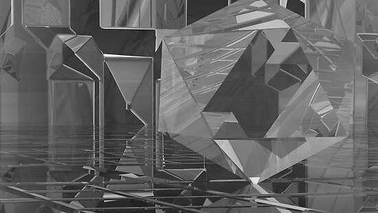 B&W Crystaline Blocks by Sazzart