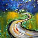 Road1. 24 x 24. Acrylic on Canvas. by csoccio100
