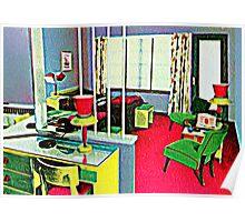 Retro Hotel Room Poster
