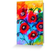 Abstract poppies, watercolor Greeting Card