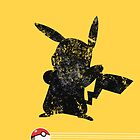 Pikachu Black n Grey Distressed iCase w/ Pokeball Stripes by HighDesign
