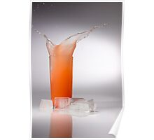 Splash of Juice in Glass with Ice Poster