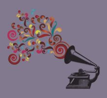 Abstract swirl background with record player Kids Clothes