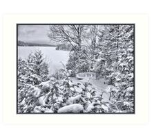 Abandoned and Forgotten - A Dilapidated Fishing Vessel Surrounded by Snowy Pine Trees near a Frozen Lake Art Print