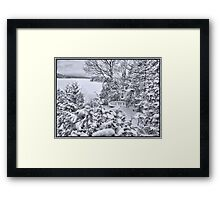 Abandoned and Forgotten - A Dilapidated Fishing Vessel Surrounded by Snowy Pine Trees near a Frozen Lake Framed Print