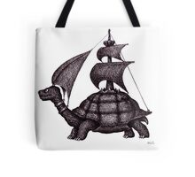 Sailing Turtle surreal black and white pen ink drawing Tote Bag