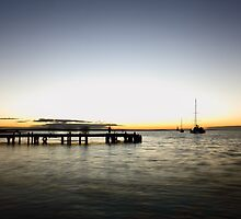 Monkey Mia Jetty Sunset by Ann Marie  Barnes