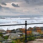 Railing, sea and sky by David Hall
