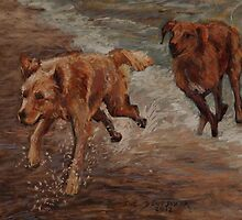 Golden Retrievers Having Fun by Sue Deutscher