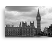 Westminster in black and white Canvas Print