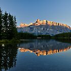 Mt Rundle with trees from Two Jack Lake by Peter Luxem