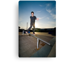 Skateboarder on a slide Canvas Print