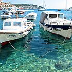 two boats in Hvar by Anne Scantlebury