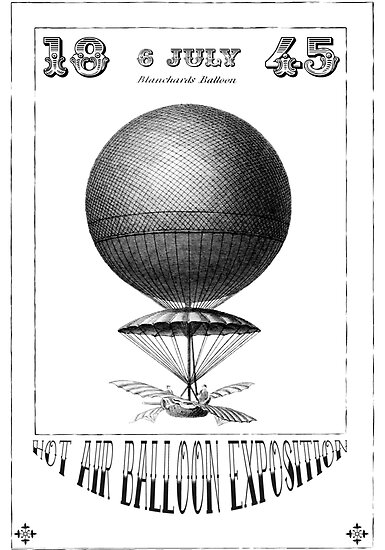 Steampunk Hot Air Balloon Greeting Card by Zehda