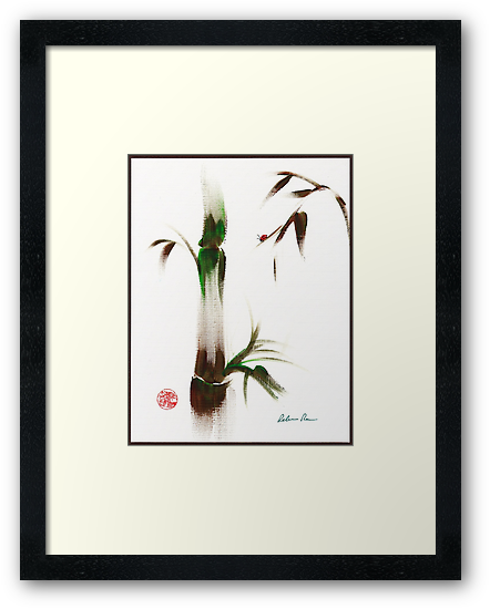 Little Lady - Zen bamboo ladybug painting by Rebecca Rees