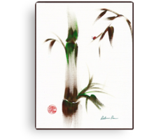 Little Lady - Zen bamboo ladybug painting Canvas Print