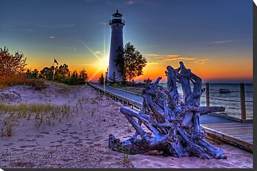 Sunset at Crisp Point Lighthouse by Megan Noble