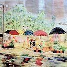 Umbrella's & Flowers by Rick  Todaro