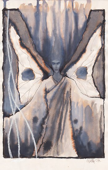 Moth Girl in ink washes by Cahl Schroedl