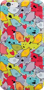 Birds and hearts and colorful blur. by Ekaterina Panova