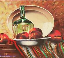 Glass bottle with peaches by Dan Wilcox