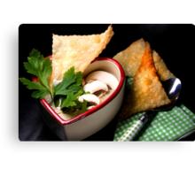Love 4 Champignon Soup With Strudel Chips Canvas Print