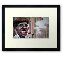 smoking clown man Framed Print