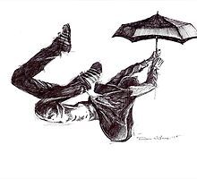 Freefall with umbrella by Dan Wilcox