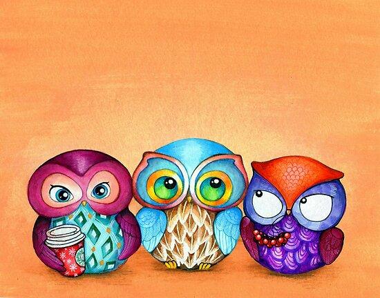 Autumn Owl Trio by Annya Kai