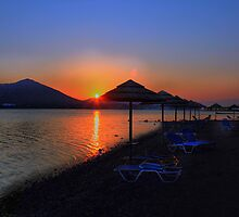 Elounda Beach at dawn by larry flewers