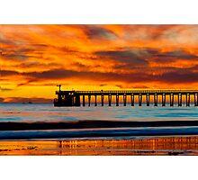 Venoco Ellwood Pier, in Bacara beach CA during sunset Photographic Print