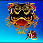 Black n Gold Chinese Dragon Face and Symbol by Lotacats