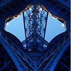 Eiffel Tower leg Blue lights by Mitchthe