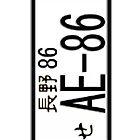 AE-86 JAPAN NUMBER PLATE by HKS588