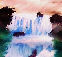 Tiered Waterfall, watercolor by Anna  Lewis