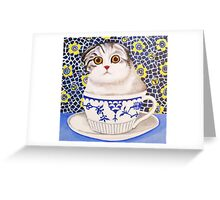 Kitten in Cup - Scottish Fold Greeting Card