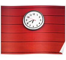 White clock on Red wall Poster