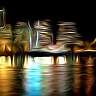 Portland Oregon Nightscape Abstract Oil Painting by Fred Seghetti