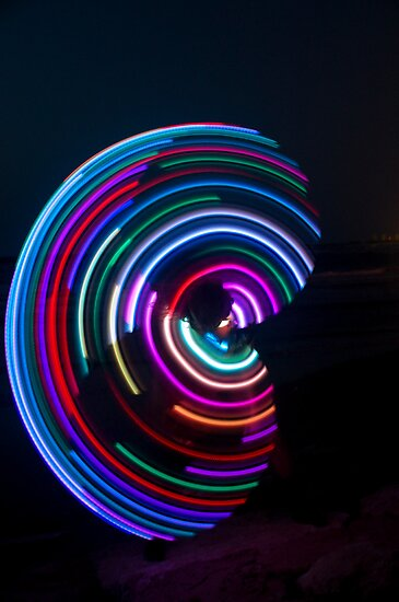 Psychedelic Hula Hoop at night  by PhotoStock-Isra