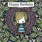 Girl in a spotty, leaf filled & heart embellished birthday card by stamptout
