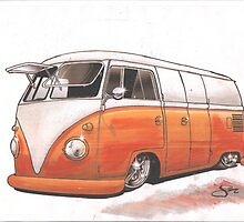 Orange Bus by Sharon Poulton
