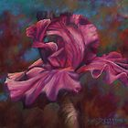Purple Iris Flower Pastel Painting by Sue Deutscher