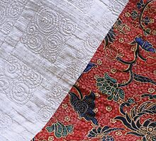 Chopsticks Quilt - Detail of quilt back by Helen  Richards