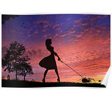 Walking With My Baby On Sunset Poster