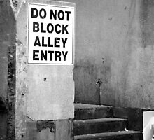 Do Not Block Alley Entry by Helen Barnett