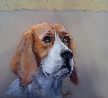 """Soulful Hand Painted Dogs to Order 16""""x20"""" by Lori Ellsworth"""
