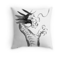Imperial Dragon - Japanese Brush Painting Throw Pillow