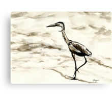 Graceful - Crane Wildlife Japanese Brush Painting Canvas Print